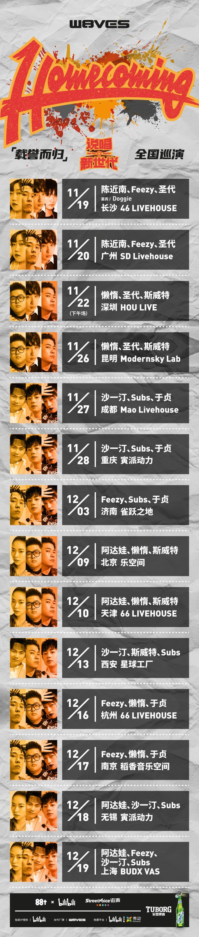 【上海站】「Subs/阿达娃/沙一汀/直火帮feezy」Homecoming《载誉而归》说唱新世代巡演LVH